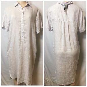 Magaschoni 100% Linen Oversized Tunic Dress Sz M